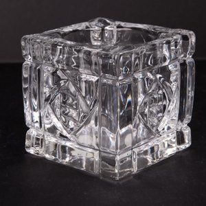 Vintage Partylite Clear Glass Candle Holder Square Cut Block Taiwan 1990s